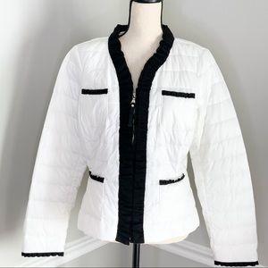 WHBM White/Black Puffer Ruffle  ZIP Up Jacket